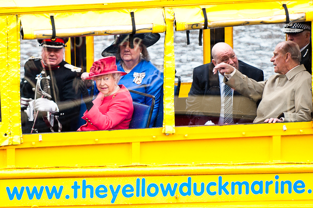 Her Majesty The Queen and His Royal Highness The Duke of Edinburgh board the Yellow Duckmarine at Liverpool's Albert Dock