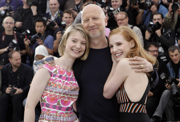 Lawless director John Hillcoat with actresses Jessica Chastain and Mia Wasikowska.