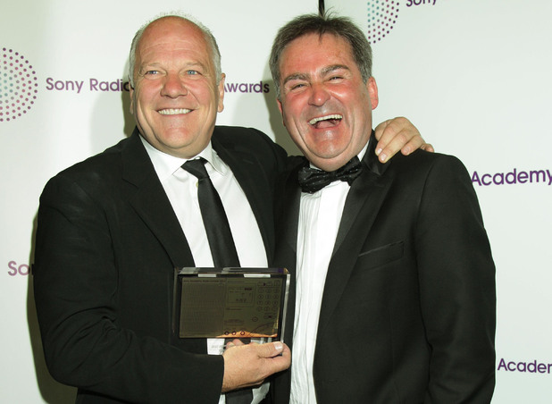 Andy Gray (L) and Richard Keys with their Sony Radio Academy Award. May 14, 2012
