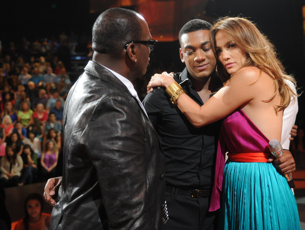 Jennifer Lopez hugs Joshua Ledet after his 'American Idol' semi-final elimination. Also pictured: Randy Jackson.