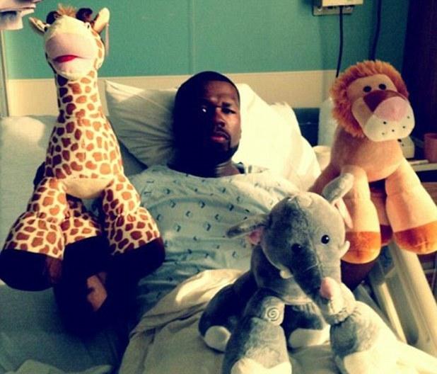 50 Cent, hospital, twitter