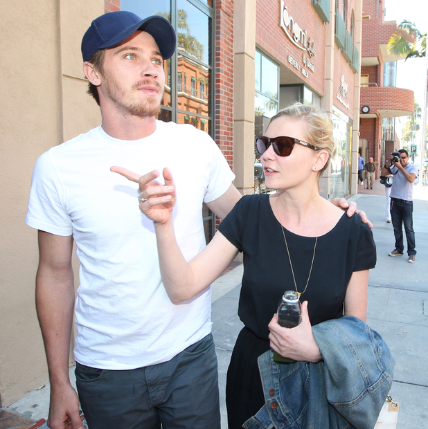 Kirsten Dunst and Garrett Hedlund arriving at a medical building in Beverly Hills Los Angeles