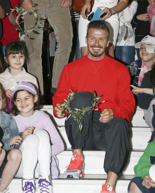 David Beckham, and London Olympic chairman Sebastian Coe visit Athens University Experimental primary school, Athens, Greece