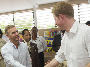 Gary Barlow meets Prince Harry in Jamaica, March 2012
