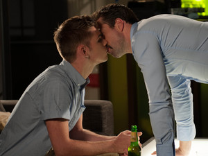 Ste and Brendan kiss.