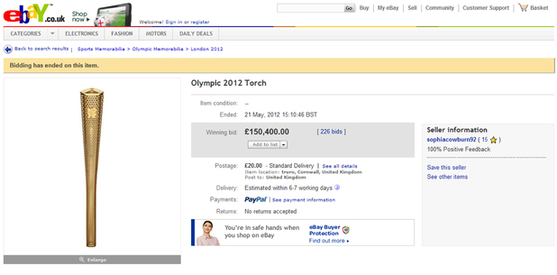 Olympic torch used in Cornwall, Britain - sold on ebay for £150,400