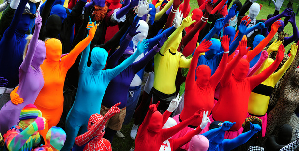 People wearing Morphsuits at Drayton Manor Theme Park, Tamworth