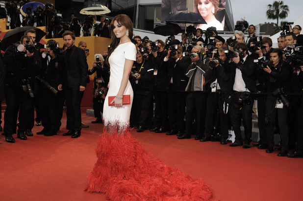 Photographers desperately try to get a picture of Cheryl Cole at the screening of 'Amour' at the 65th international film festival in Cannes