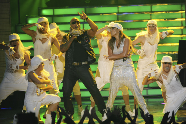 Jennifer Lopez performs 'Follow the Leader' with reggaeton duo Wisin & Yandel