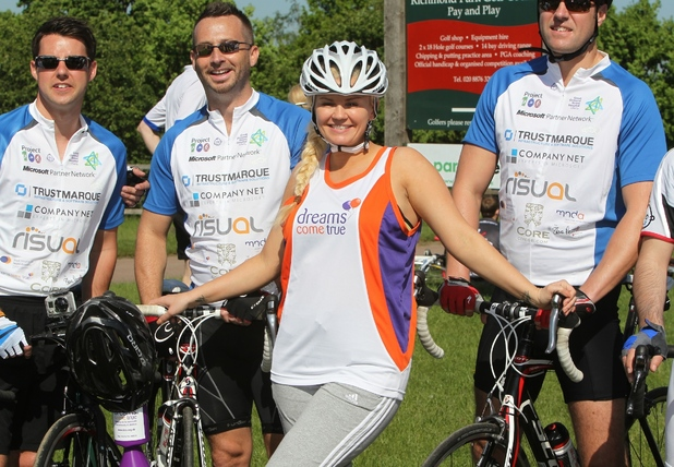 Dreams Come True Ambassador Kerry Katona starts the Dream Cycle the Olympic Course Roehampton Gate in Richmond Park.