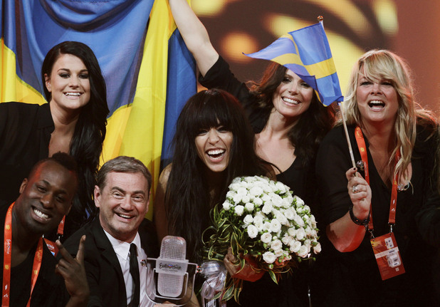 Eurovision Song Contest 2012: Loreen celebrates her victory with the Swedish performers and crew