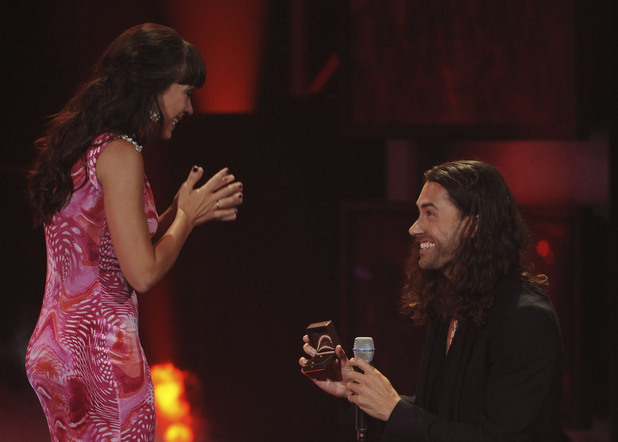 Idol Finalist Ace Young has a special question to propose to Diane DeGarmo during the season 11 AMERICAN IDOL GRAND FINALE at the Nokia Theatre on Weds. May 23, 2012 in Los Angeles, California. CR: Michael Becker/FOX
