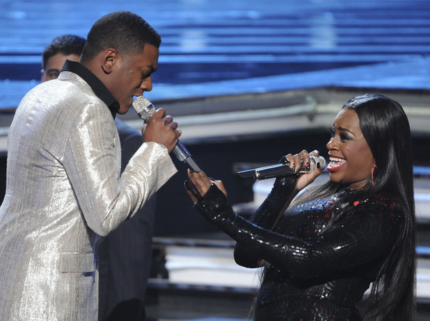 Joshua Ledet performs with previous 'American Idol' winner Fantasia Barrino