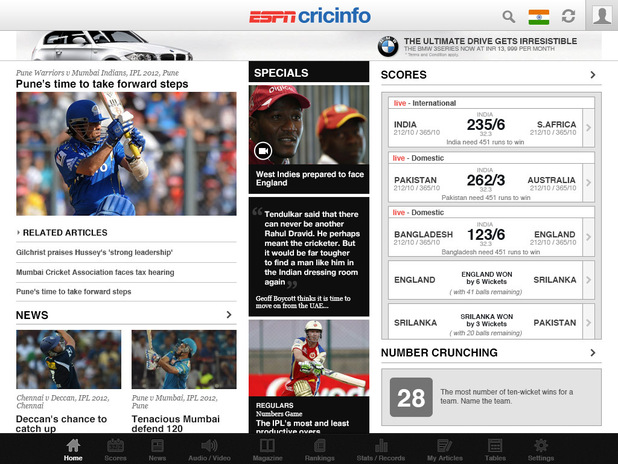 ESPNcricinfo iPad app screenshot