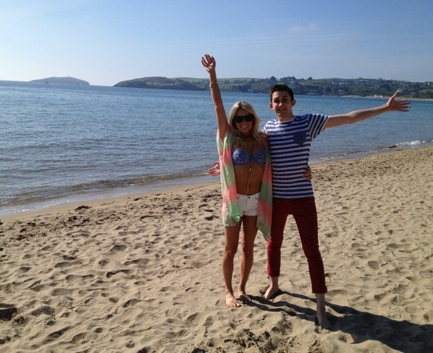 Hollyoaks: Location Twitter pics Scarlett Bowman and Steven Roberts