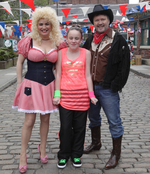Anna Windass, Faye Butler and Owen Armstrong in Corrie's Jubilee street party