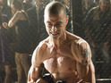 The actor has undergone a physical transformation to play a cage fighter.