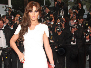 Cheryl Cole, two-tone Stephane Rolland fish-tail gown