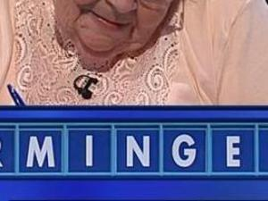 A contestant considers the word MINGE on countdown