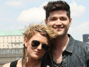 The Voice UK judge Danny O'Donoghue busking on the South Bank in London alongside his team finalist Bo Bruce