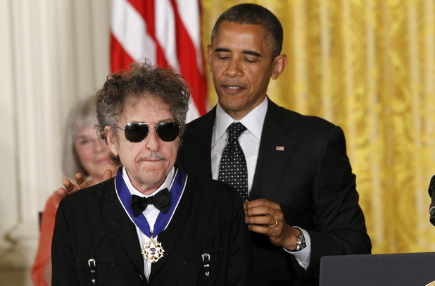 US president Barack Obama presents Bob Dylan with the Presidential Medal of Freedom - May 29, 2012