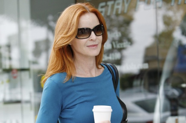 Marcia Cross grabs a coffee in Brentwood, Los Angeles.