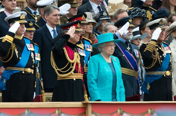 Queen Elizabeth ll,  Prince Philip, Duke of Edinburgh and members of the Royal Family attend the Diamond Jubilee Armed Forces Parade and Muster Windsor, England