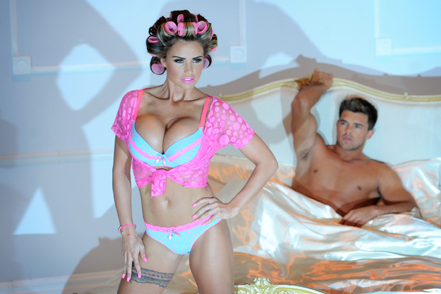 Katie Price poses in her new summer lingerie range for Store Twenty One in London.