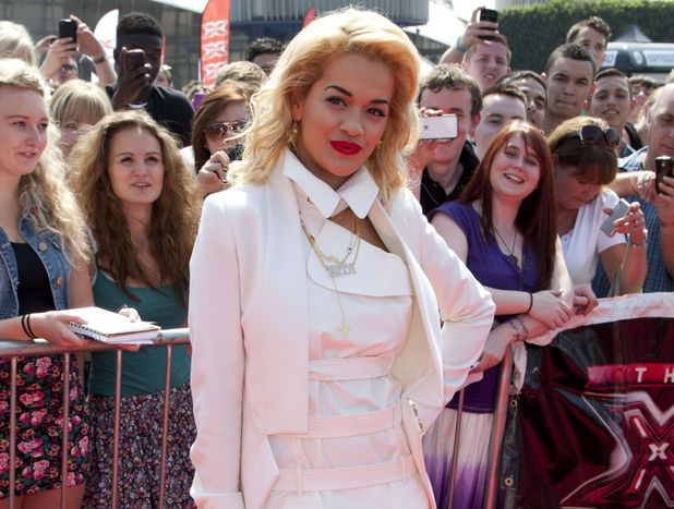 Guest judge Rita Ora arriving at the X Factor London auditions at the O2 arena