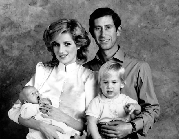 Prince Charles and Princess Diana with Princes William and Harry