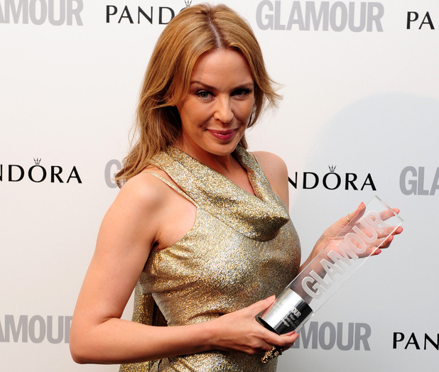 Kylie Minogue with the Outstanding Contribution Award, at the 2012 Glamour Women of The Year Awards