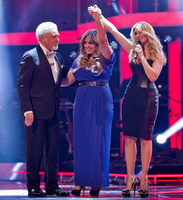 The Voice UK Live Final: Leanne with her coach Tom Jones, and presenter Holly Willoughby.