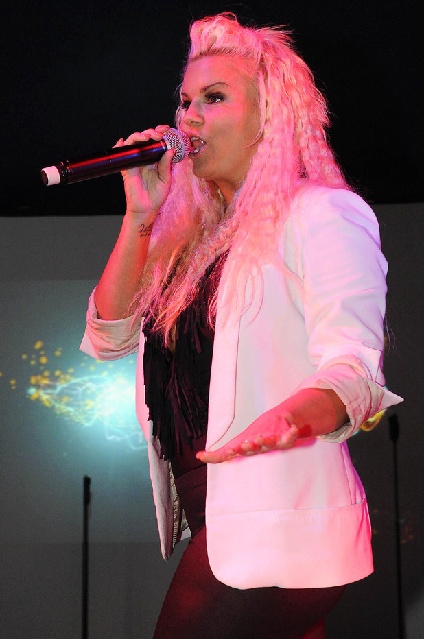 Kerry Katona performing live on stage at Birmingham Pride.