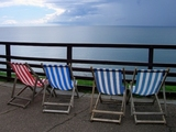 Deckchairs by the coast