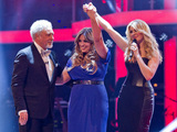 The Voice UK Live Final: Leanne with her mentor Tom Jones, and presenter Holly Willoughby.