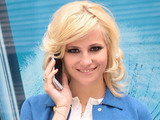 Pixie Lott launches the Galaxy S III at the Samsung Brand Store, Westfield Stratford dressed in Red, White and Blue ahead of Jubilee Weekend