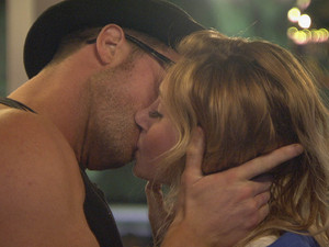 Ashleigh and Benedict kiss on day 3 in the Big Brother house.