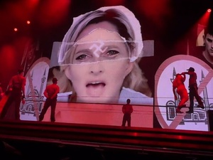 Marine Le Pen/swastika image on Madonna&#39;s world tour in Tel Aviv, Israel