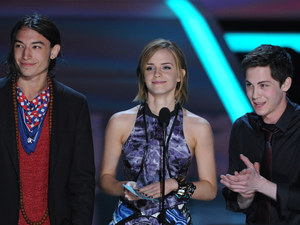 Emma Watson with The Perks of Being a Wallflower co-stars Ezra Miller and Logan Lerman