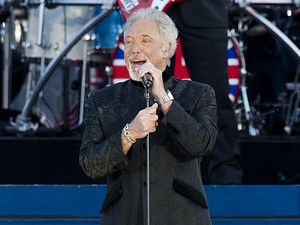 Tom Jones on stage outside Buckingham Palace during the Diamond Jubilee Concert.