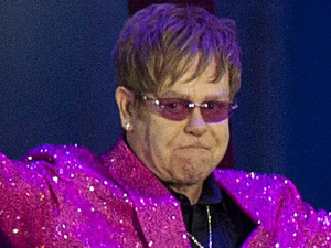 Elton John on stage outside Buckingham Palace during the Diamond Jubilee Concert.