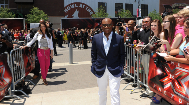 L.A. Reid arrives at The X Factor Kansas auditions.
