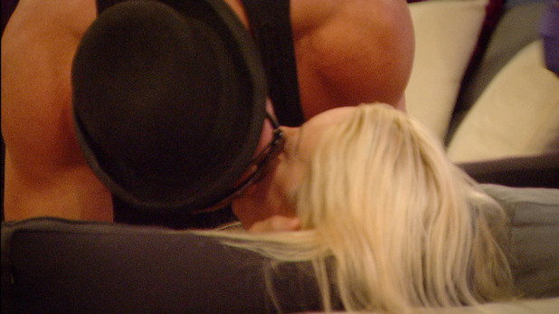 Benedict kisses Victoria on day 3 in the Big Brother house.