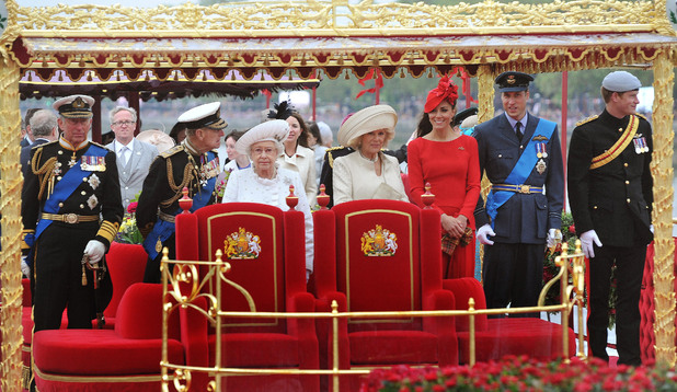 Prince of Wales, Duke of Edinburgh, Queen Elizabeth II, Duchess of Cornwall, Duchess of Cambridge, Duke of Cambridge and Prince Harry onboard the Spirit of Chartwell during the Diamond Jubilee Pageant on the River Thames in London.