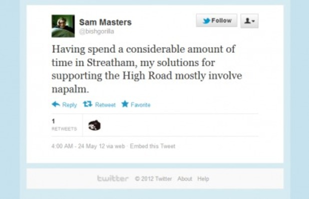 Sam Masters's Twitter page