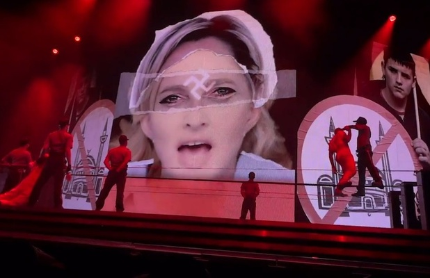 Marine Le Pen/swastika image on Madonna's world tour in Tel Aviv, Israel