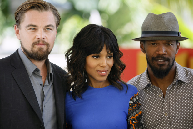 "U.S. actors Leonardo DiCaprio, left, Kerry Washington, center, and Jamie Foxx, pose for photos promoting their upcoming film,""Django Unchained"" at the Summer of Sony 4 Spring Edition photo call in Cancun, Mexico, Sunday April 15, 2012."