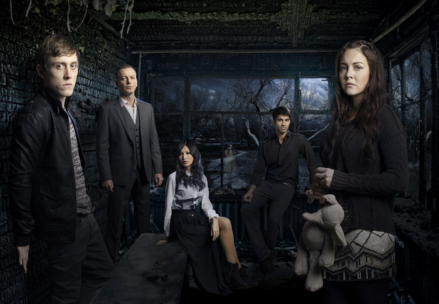 Jack Roth as Max, Lacey Turner as Ellie, Nikesh Patel as Dan, Gemma Chan as Kiera & Hugo Speer as Warren Bettany..© Dan Kennedy for Sky Living HD.06.02.2012