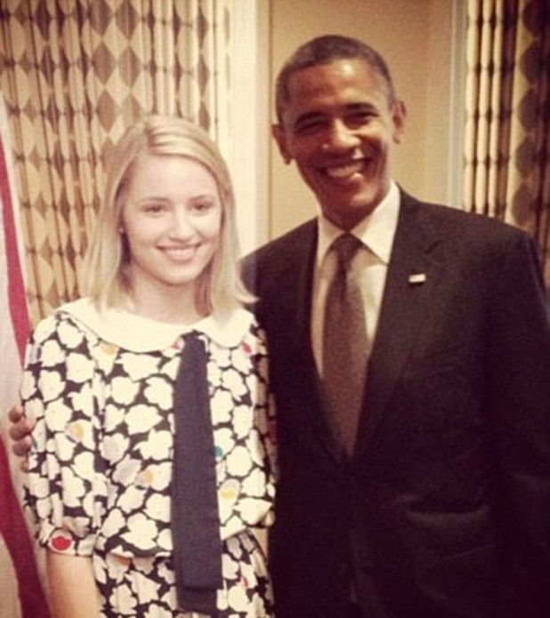 Dianna Agron and President Obama