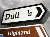 Signage for the village Dull in Perthshire